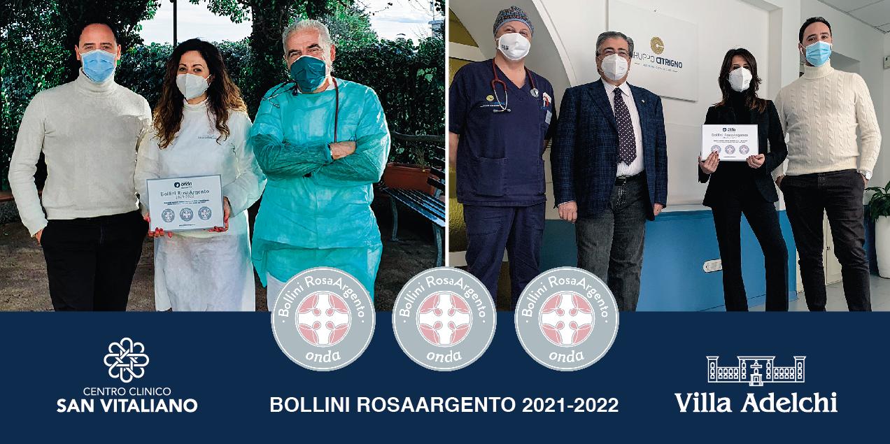Villa Adelchi e Centro Clinico San Vitaliano premiate con tre Bollini RosaArgento
